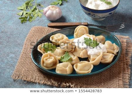 Meat Dumplings - russian boiled pelmeni in plate Stock photo © joannawnuk