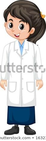 Menina ciência vestido branco ilustração sorrir Foto stock © bluering