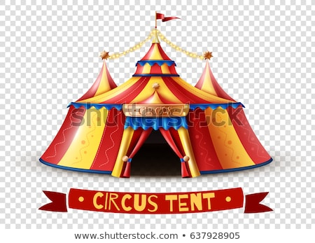 Circus sign template with yellow background and red ribbon Stock photo © bluering