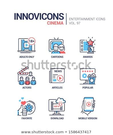 Bioscoop online dienst vector lijn ontwerp Stockfoto © Decorwithme
