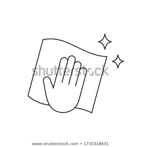Kéz tart szalvéta ikon skicc illusztráció Stock fotó © pikepicture