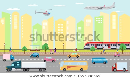 Cityscape with Riding Car Transport in City Vector Stock photo © robuart