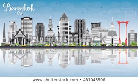 Bangkok ufuk çizgisi gri mavi gökyüzü turizm Stok fotoğraf © ShustrikS