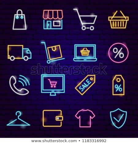 Pénzügy neon címke szett üzlet promóció Stock fotó © Anna_leni