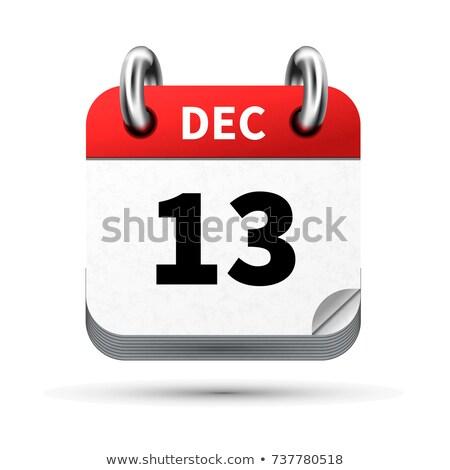 Luminoso realistico icona calendario 13 dicembre Foto d'archivio © evgeny89