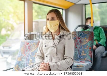 女性 公共交通機関 危機 着用 顔 マスク ストックフォト © Kzenon