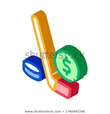 Jégkorong bot fogadás hazárdjáték izometrikus ikon Stock fotó © pikepicture