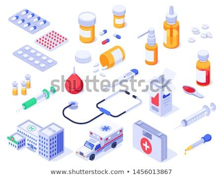 Gyógyszeres üveg izometrikus ikon vektor felirat szín Stock fotó © pikepicture