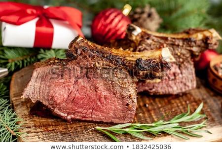 hús · szeletek · előkészítés · mártás · tűz · füst - stock fotó © simply