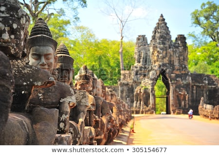 Angkor Thom south gate in Cambodia Stock photo © raywoo