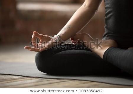 Yoga lotus pose padmasana healthy fitness girl Stock photo © darrinhenry