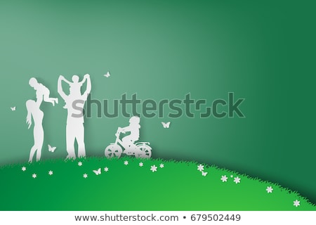 girl and butterfly on mountain grasses Stock photo © wildman