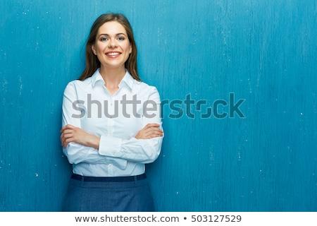 портрет · молодые · красивая · женщина · Постоянный · синий · глядя - Сток-фото © HASLOO