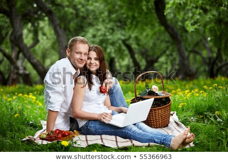 Young happy smiling couple with laptop at picnic Stock photo © HASLOO