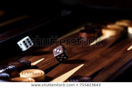 Foto stock: Vista · dados · juego · piezas · familia · madera