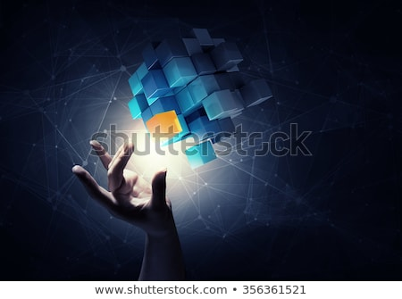 Stockfoto: 3D · hand · woord · oplossing · business · abstract
