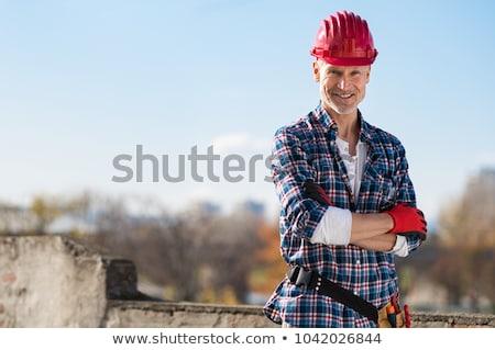 Portret murarz działalności domu człowiek pracownika Zdjęcia stock © photography33