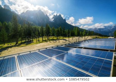 Kék vidék ház elektromos erőmű fű otthon Stock fotó © WaD