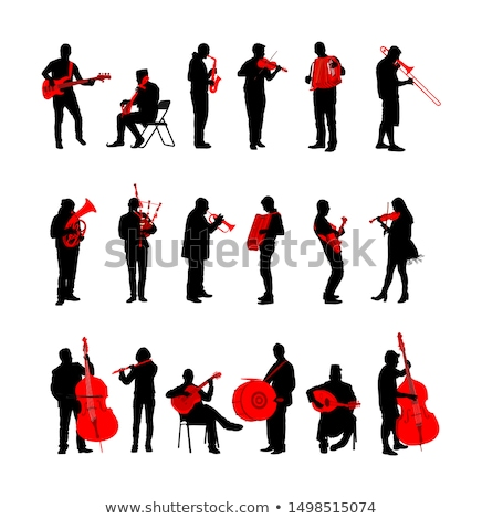 Laiton joueurs silhouettes groupe concert Photo stock © Kaludov