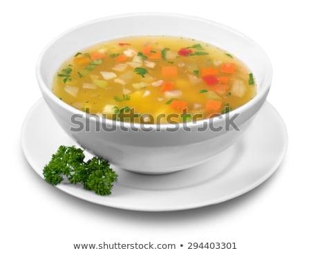 Tazón sopa de verduras decorado perejil primer plano alimentos Foto stock © zhekos