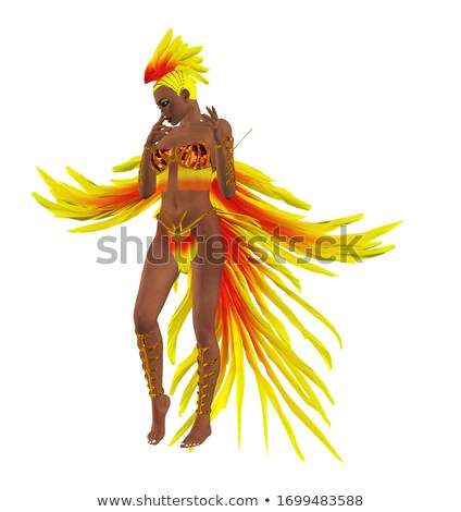 Seductive woman with feathers Stock photo © stryjek