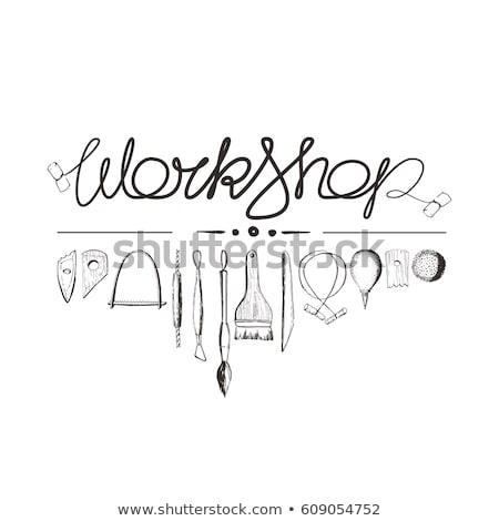 aardewerk · tools · hand · geïsoleerd · witte · hout - stockfoto © Taigi