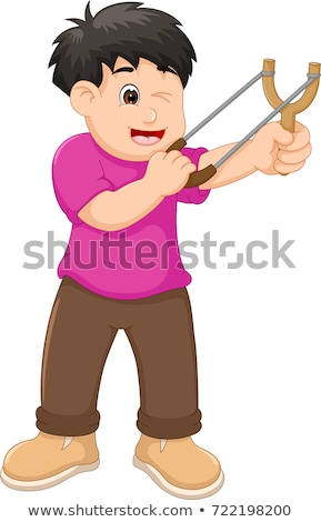 Young boy with sling aiming Stock photo © ilona75