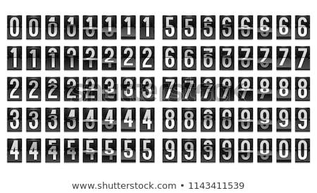 Foto stock: Mecânico · scoreboard · números · isolado · branco · tempo