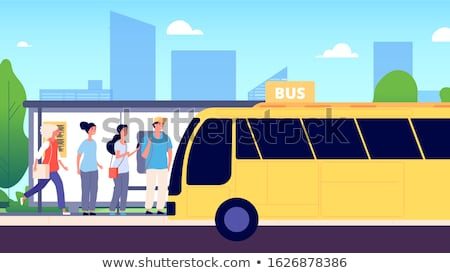 city transport on city background buses vector illustration stock photo © leonido