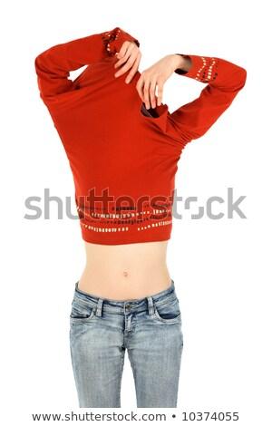 Vrouw af jeans geïsoleerd witte Stockfoto © Nobilior