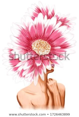girl with gerbera on head Stock photo © carlodapino