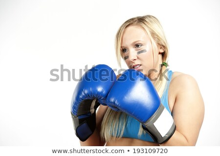 Nice blond lady in boxing gloves stock photo © acidgrey