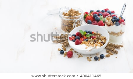 yogurt with muesli and berries stock photo © m-studio