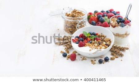 yogurt with muesli and berries stock photo © m-studio