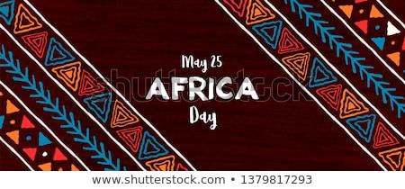 Semboller Afrika örnek harita Afrika sanat Stok fotoğraf © dayzeren