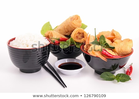 spring roll, shrimp fritter and soy sauce Stock photo © M-studio