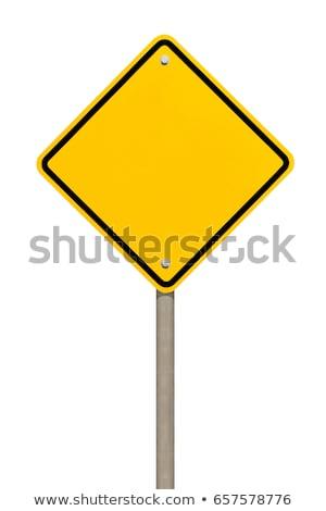 Dikkat yol işareti görüntü beyaz sanat plaka Stok fotoğraf © Kirschner