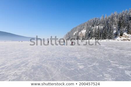 inverno · paisagem · congelada · lago · pôr · do · sol · céu - foto stock © elenarts