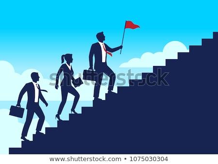 Man Silhouette Climbing Up Stairs Stock photo © eldadcarin