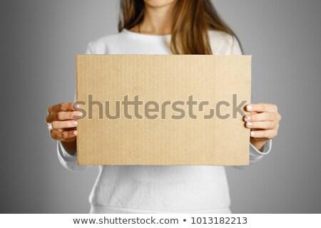 belo · feliz · mulher · jovem · vazio · peça - foto stock © kyolshin