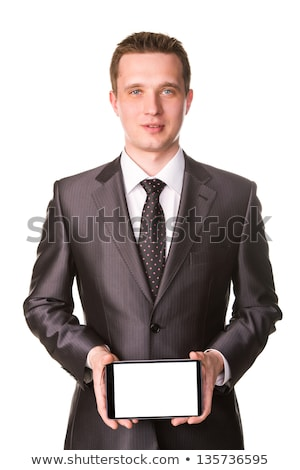 Businessmans Hand Showing A Tablet Pc Comuter With Blank Screen Foto d'archivio © Len44ik