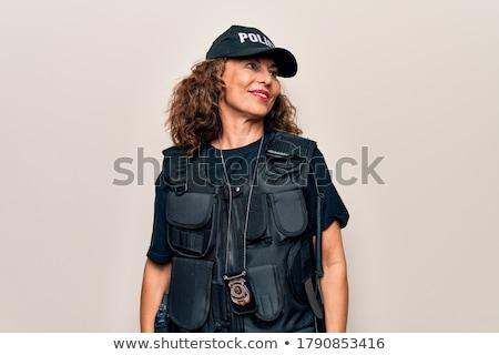 policjantka · profil · widok · z · boku · dorosły · stałego - zdjęcia stock © iofoto