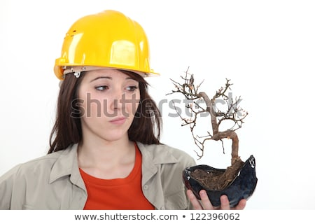 a female construction worker holding a dead plant stock photo © photography33