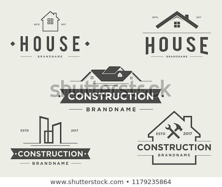 Gyűjtemény vektor logók építkezés lakásfelújítás ház Stock fotó © butenkow