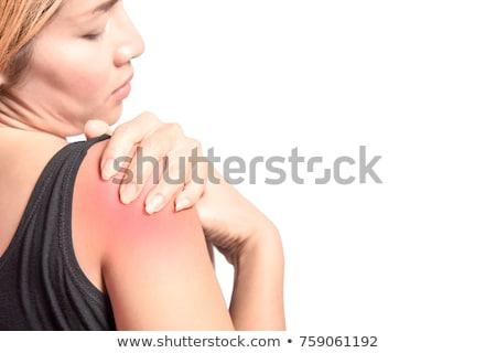 Terápia gyönyörű nő vállak terapeuta kezek nő Stock fotó © lunamarina