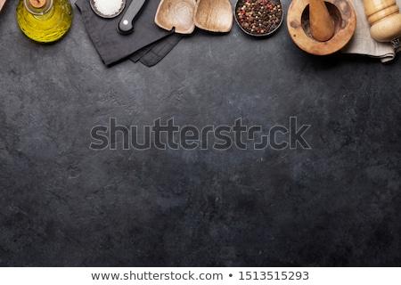 ложку соль специи оливкового древесины природы Сток-фото © inaquim