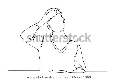 Jonge vrouw hand voorhoofd portret geïsoleerd witte Stockfoto © williv