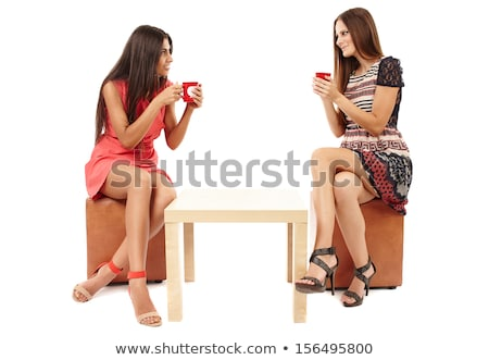 happy women sitting at a coffee table Stock photo © Rob_Stark