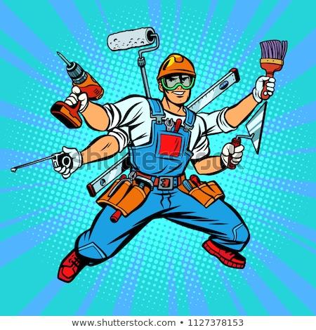 Handyman Tradesman Carpenter Mechanic Plumber Cartoon Stok fotoğraf © rogistok
