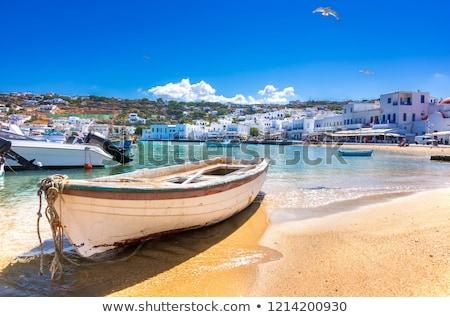 白 · ローイング · ボート · ギリシャ · 水 · 太陽 - ストックフォト © jirivondrous